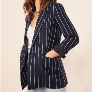 Reformation Navy & White Striped Blazer. NWT!